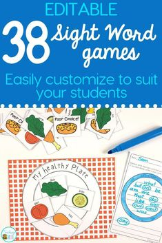 Sight word games that are editable are perfect for creating fun centers or stations for your kindergarten or first grade students. With 38 different games in this pack, you will have a wide range of sight word, phonics, spelling or word work games you can create in seconds! It is easy to create differentiated centers for all your students. #sightwords #editablesightwords #kindergarten #spelling #wordwork #sightwordgames #spellinggame