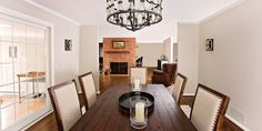 Rochester Dining Area, Living Room & Bar Area - Home Remodeling | Home Renovations Rochester NY | Norbut Renovations #rustic #walnut