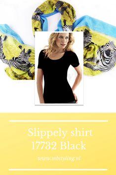 Dit zwarte Slippely viscose shirt met korte mouwen is gemaakt van 93% viscose en 7% elastan.  Het viscose Slippely shirt hoef je na het wassen enkel op te hangen en kan zonder te strijken weer heerlijk gedragen worden. Dit Slippely shirt black is ideaal te dragen als basis shirt onder een vest of jasje.  #slippely #slippelyshirt #zwartslippelyshirt #onlineslippelyshirt #slippelyshirtonline #slippelyhemdje #damesshirt #mbstyling Shawl, One Shoulder, Crop Tops, Blouse, Prints, Outfits, Black, Women, Fashion