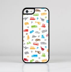 The Colorful Travel Collage Pattern Skin-Sert for the Apple iPhone 5c Skin-Sert Case