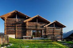 Heustodlsuite am Taxhof - Home Dekoration Log Wall, Wood Architecture, Nature Adventure, Large Windows, Austria, Travel Destinations, Around The Worlds, Cabin, House Styles