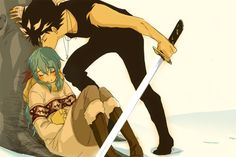Yukina and Hiei (Yu Yu Hakusho) Sibling love is so cute!