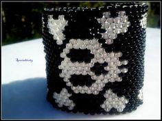 "6 1/2 "" Glow in the Dark Skull Crossbones hand beaded cuff #handmade #bracelet by #specialtivity    http://www.artfire.com/ext/shop/product_view/specialtivity/5170623"
