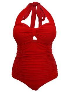 Women 1950s Style Retro Sexy Red Tummy Control Swimsuit Swimming Costume   eBay