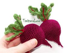 Beet Crochet - Stuffed vegetables - Harvest toys for kids - Kitchen decoration - Prete. Beet Crochet - Stuffed vegetables - Harvest toys for kids - Kitchen decoration - Pretend play food - Cotton veggies - Vegan decor, Crochet Fruit, Crochet Food, Cute Crochet, Crochet Dolls, Crochet Flowers, Cotton Crochet, Kids Crochet, Knitting Patterns, Crochet Patterns