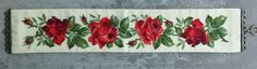 "Vintage Hand Stitch Needlepoint Wall Hanging 6 1 4"""" x 37"" Red Roses Bell Pull 
