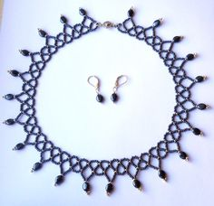 Hematite and Silver Netted Beadwoven by FeithHodgeCreations, $38.00