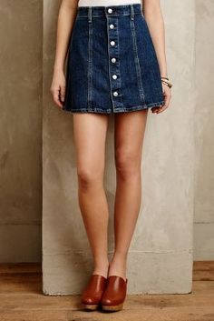 Alexa Chung for AG Button-Front Denim Skirt Allure #anthrofave