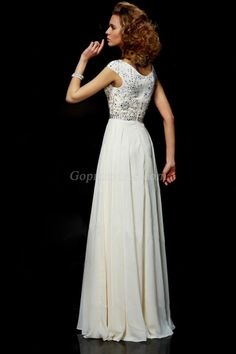Flamboyant A Line High Scoop Neck Floor Length Ivory Chiffon Beading Dress picture 2