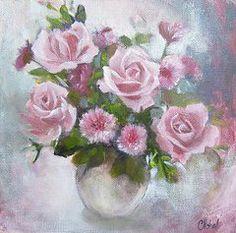 Floral Oil Paintings - Glorious Roses by Chris Hobel
