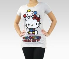 An image of FriendsWithYou x Hello Kitty Grey Tee: Peeking $28.00