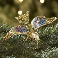 pier one sequin hummingbird clip ornament gold