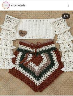 Crochet Shorts Pattern, Crochet Girls Dress Pattern, Crochet Fabric, Crochet Art, Crochet Crafts, Crochet Projects, Crochet Patterns, Crochet Summer Tops, Crochet Crop Top