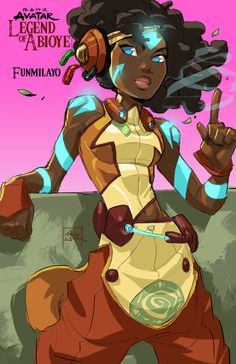 """marcusthevisual: """"Fan Fiction Concept: Avatar: The Legend of Abioye (ah-bih-AW-yeh). Funmilayo the AirBender- Funmilayo is the daughter of a famous farmer who made himself a country-wide hero by. Black Cartoon Characters, Comic Book Characters, Fantasy Characters, Cartoon Art, Superhero Characters, Black Girl Art, Black Women Art, Black Girls, Character Inspiration"""