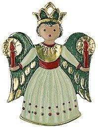 Angel with Candles-Painted German Pewter Ornament