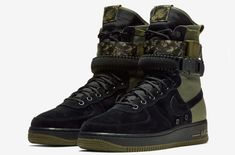 Camo Detailing On This Nike Special Field Air Force 1 Mens Fashion Shoes, Sneakers Fashion, Dope Fashion, Green Fashion, Military Shoes, Nike Boots, Men's Boots, Nike Sf Af1, Camo Shoes