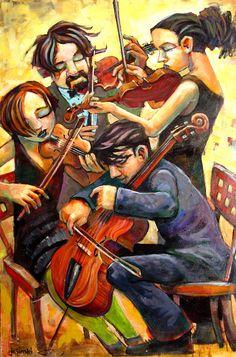 music-in-art: Jasinski - Quartet, acrylique Music Painting, Figure Painting, Dance Music, Art Music, Violin Art, Music Illustration, Music Images, Classical Music, Bunt
