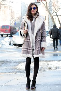 Eleonora Carisi's Best Street Looks -- Check It Out -- Carisi fights the elements in a shearling-trimmed houndstooth coat and perfect booties.