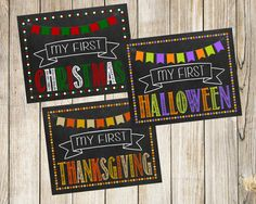 My First Holiday Signs Instant Download ~ Printable Holidays Photo Props ~ Halloween Thanksgiving Christmas My 1st Chalkboard Sign Poster by SubwayStyle on Etsy