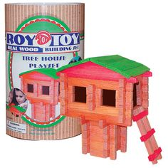 $25.00 Tree House Cannister 71 pcs.  Made in the USA since 1930, these Log Building Sets are still made of real wood and are some of the most versatile building pieces around. Click http://www.unionlabel.com/roy-toy-tree-house-mini-canister-71-piec71.html Buy Now