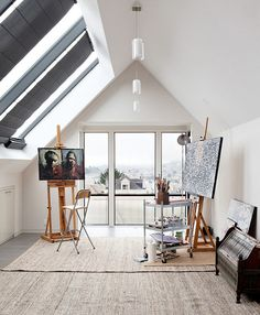 Yes I would love to have my very own art studio, in my own home of course. Would be so awesome to just get in there anytime I feel inspired. I also love a space like this that is so bright with windows.