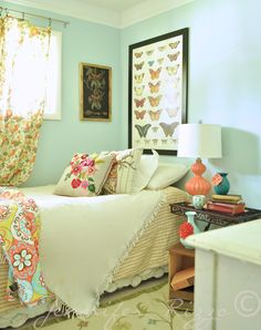 Solid bed spread; colorful table cloth for boho look...