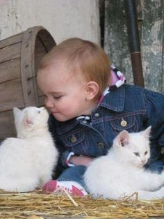 Baby playing with Little Kittens in the country