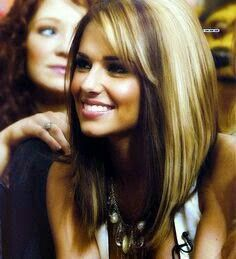 Very long angled bob blonde and brunette hair