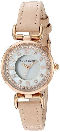 Anne Klein Women's Quartz Metal and Leather Dress Watch, Color:Pink (Model: AK/2382RGLP) * You can get additional details at the image link.