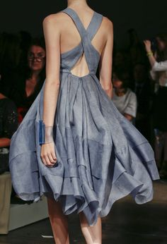 chambray, criss-cross dress; donna karan s/s 2013.