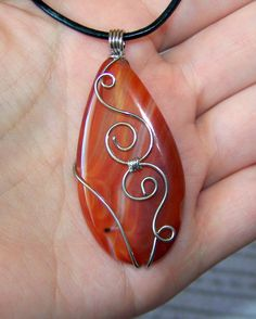 Wire Wrapped Red Onyx Agate Pendant Wire Wrapped by lutita, $21.00