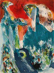 Asger Jorn: Hommage en Bleu, 1967, lithograph in colours, visible size 75x56 cm, edition 25/50 - Bruun Rasmussen 5/2016 - 1618/529