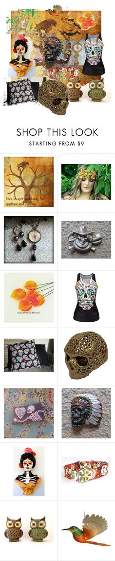 """""""Back to Skull"""" by artbymarionette ❤ liked on Polyvore featuring interior, interiors, interior design, home, home decor and interior decorating"""