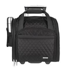 """TRAVELON 14"""" Rolling Underseat Quilted Microfiber Carry On Black Holiday Travel"""