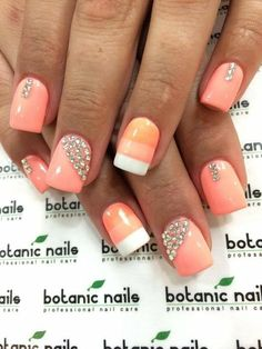PEACH SORBET COLORED POLISH  with bling