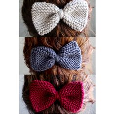 Set of 3 Knit Hair Bows - Red, Grey, Cream