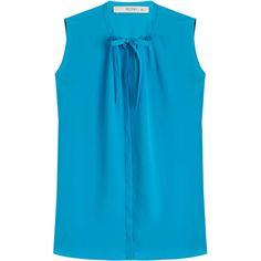 Etro Sleeveless Silk Blouse ($395) ❤ liked on Polyvore featuring tops, blouses, blue, etro tops, blue silk blouse, blue sleeveless top, sleeveless blouse and slimming tops