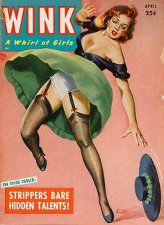 Pin Up Girl Poster 11x17 Wink magazine cover art August Nylons High Heels