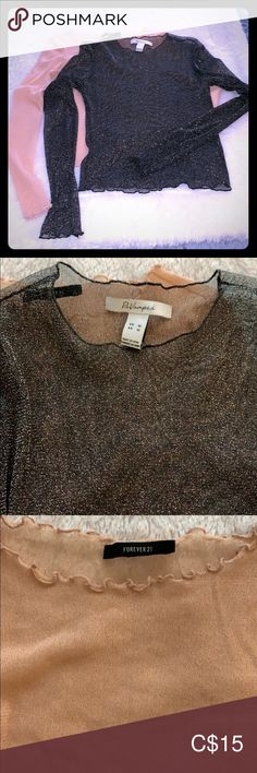 Black Revamped See through Top Black see through sparkly top size M gently used in good shape. See Through Tops, Plus Fashion, Fashion Tips, Fashion Trends, Sirens, Black Tops, Forever 21, Note, Shape
