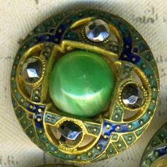 3 Openwork Cloisonne Enamel Buttons Cut Steels Glass 3/4 inch 18mm ~ set of 3 for $65.00 but they are lovely!