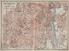 LOS ANGELES city plan. Downtown Westlake Chinatown Financial district, 1909 map Antique Maps, Vintage World Maps, North America Map, West Lake, Worlds Largest, City Photo, California, How To Plan, Antiques