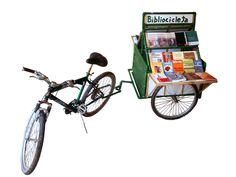 Two of my favorite things. Mobiles, Cycling Books, Mobile Library, Jun K, Book Cafe, Inspirational Books, Sidecar, After Dark, Transportation