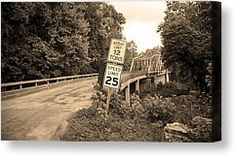 Route 66 - Steel Truss Bridge Canvas Print by Frank Romeo