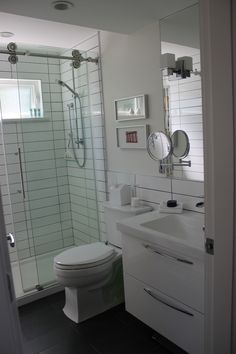 Small Bathroom   Bathtub Removed And Replaced With Walk In Shower Stall  With Barn Door Hardware