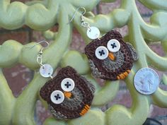crochet owl. earrings!!!!