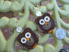 crochet owl. earrings!!!!