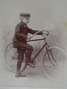 Cabinet Card Telegram Delivery Boy & his Bicycle