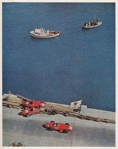 Fangio ( Maserati ) driving to victory passing by the Ferrari squad, Hawthorn - Collins.Monaco 1957.
