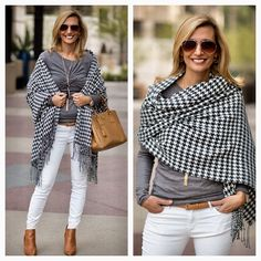 BACK IN STOCK! This Charcoal and Ivory Houndstooth wrap was a BESTSELLER last year and now it is back in our shop, they will go quickly so do not wait - Only $47.00 Plus Free US Shipping www.jacketsociety.com/shop