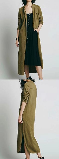 Army Green Button Up Side Split Longline Shirt Dress [on me this would look like a tent but I love the cover up idea. jh]